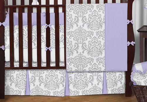 Sweet Jojo Designs 9piece Lavender Gray And White Elizabeth Damask Print Baby Bedding Collection Girl Crib Pink Crib Bedding Grey Crib Bedding Baby Boy Bedding