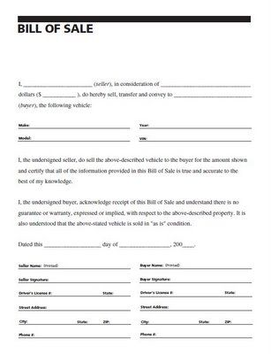car bill of sale printable Bill of Sale Printable Free cars - auto purchase agreement
