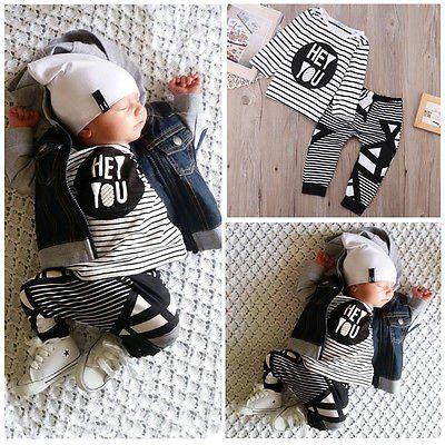 7137efe6e Baby Boy  Girl Fall Winter Outfits Set Infant Kids