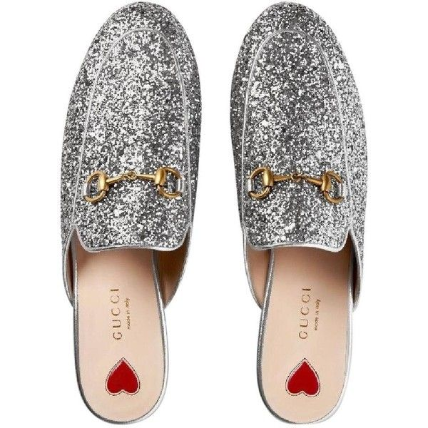 f504824dc Gucci Nib $750 Princetown Glitter Princetown Loafer Silver Mules ($710) ❤  liked on Polyvore featuring shoes, glitter loafers, gucci shoes, glitter  shoes, ...