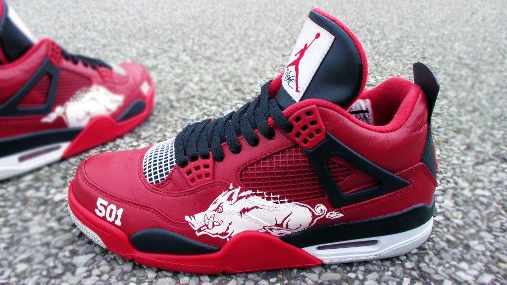 """Air Jordan 4 """"University of Arkansas Razor Backs"""" Custom http://www"""