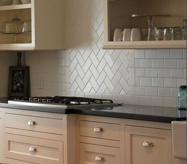 Küchen U Bahn Fliesen · Subway Tile Back Splash. Love The Diagonal Section!