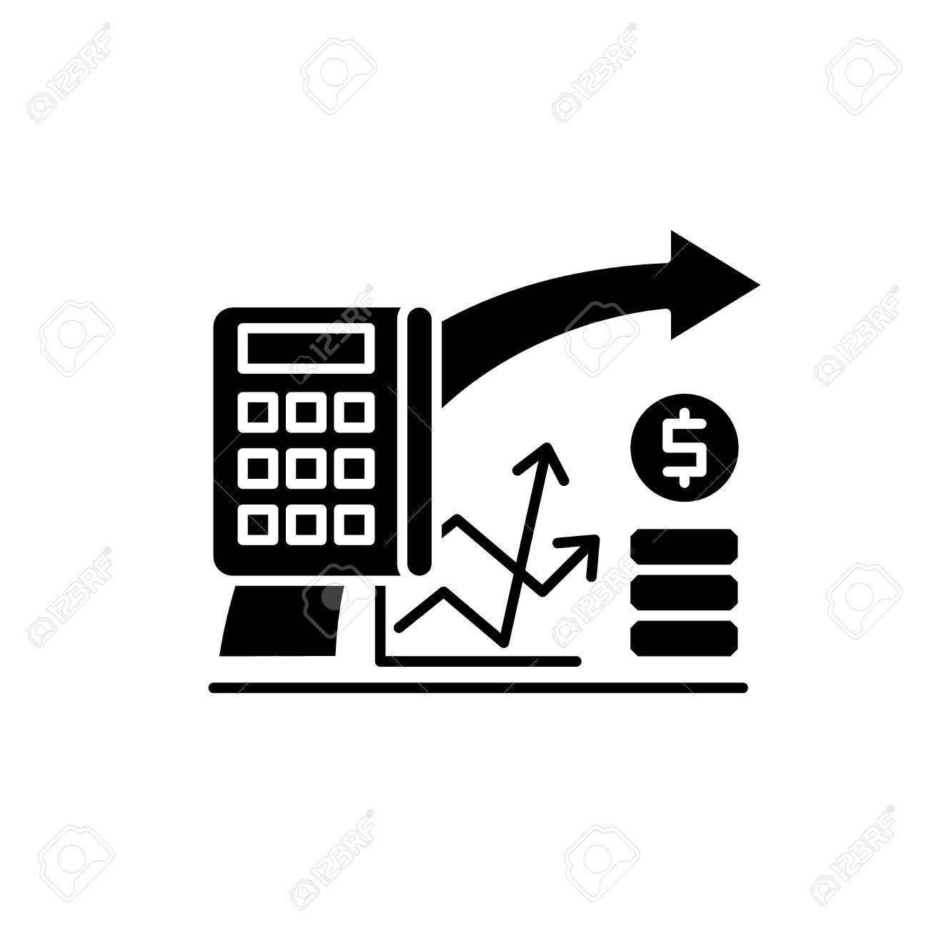 Financial Planning Black Icon Concept Vector Sign On Isolated