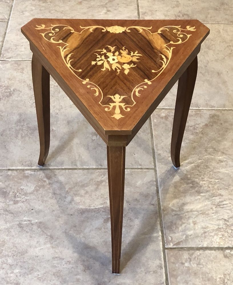 38629179c Vtg Italian Sorrento Triangle Wood Inlay Marquetry Music Box Jewelry Table  PLAYS #Sorrento