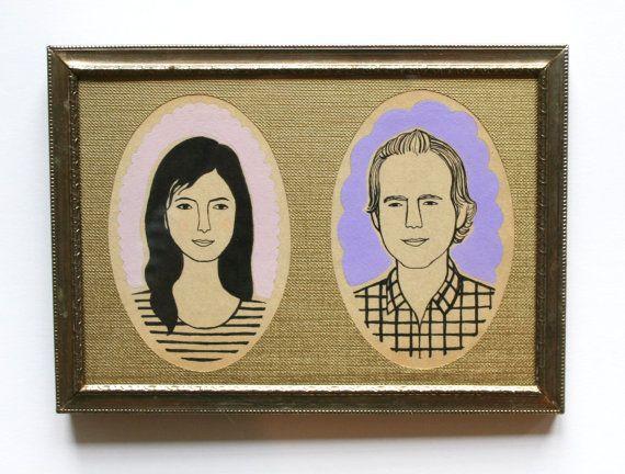 custom midcentury style couple portrait di JordanGraceOwens