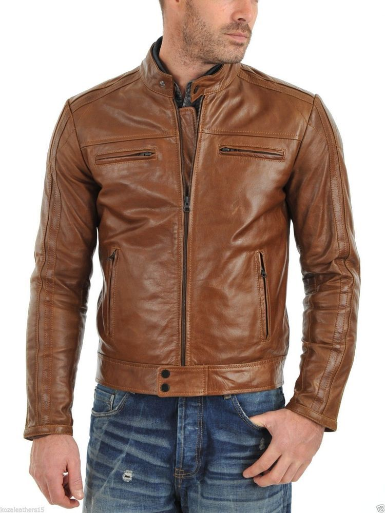 Men/'s Genuine Lambskin Leather Brown Bomber Slim Fit Biker Leather Jacket Coat