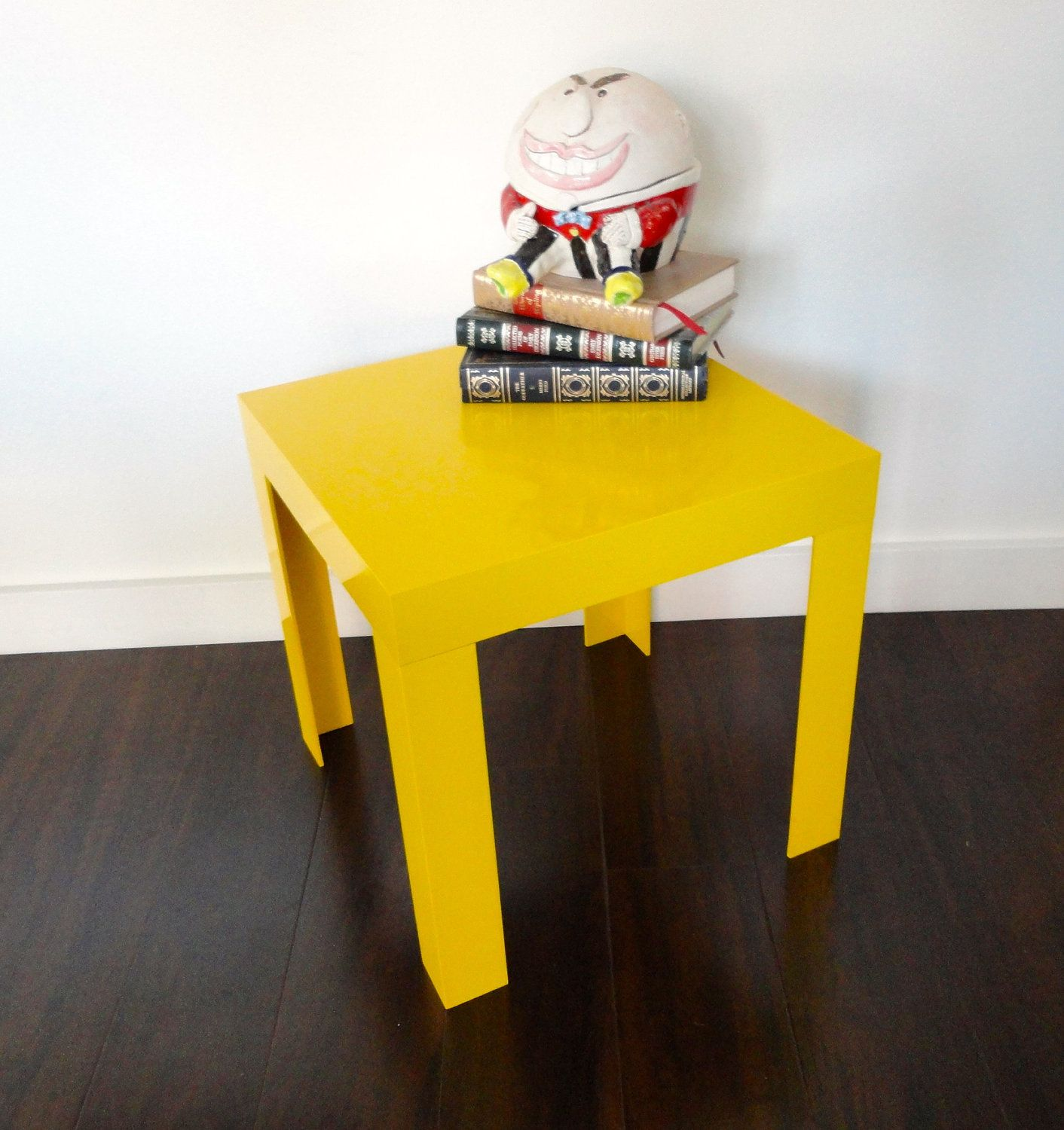 Vintage Parsons Table Plastic Yellow Stacking Eames Era With Original Label 45 00 Via Etsy