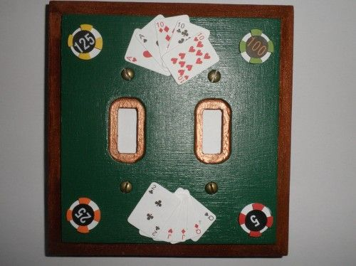 Playing Cards and Poker Chips on Double Switch Plate