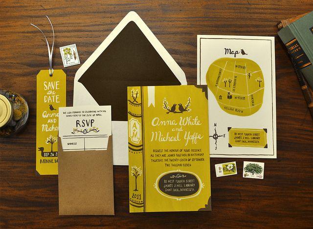 Library Theme Wedding Invitation Pretty Paper Wedding