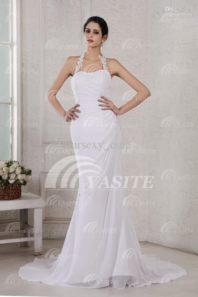 Sexy mermaid wedding dresses halter low back chapel train crystal