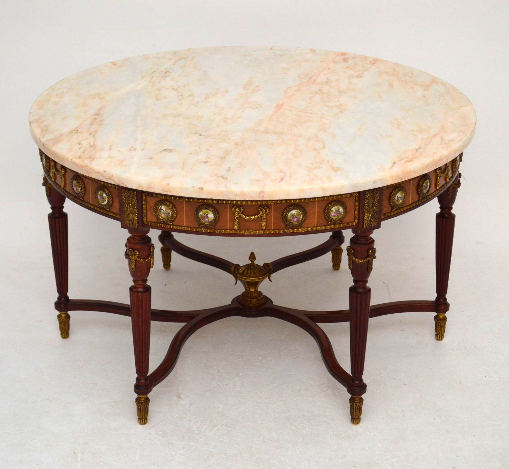 Antique French Style Circular Marble Top Coffee Table With