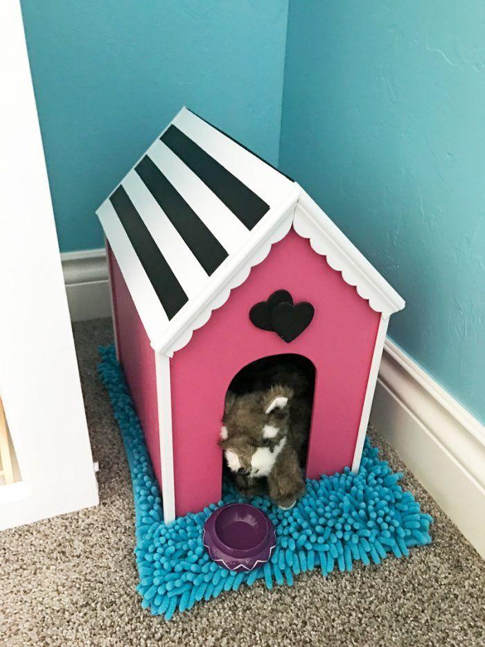 American Girl Doll DIY dog house idea. #americangirldollcrafts