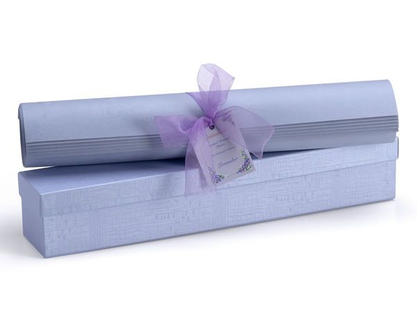 """Scented Drawer Liner. Embossed Lavender, this beauty of our Flower Embossed paper really shine in this collection, with a lovely lavender and lilac fragranced. All sheets are tied with a soft complimentary colored ribbon and tag, and come in matching colored PEARL pigment boxes.Liners per Box:6. Sheet Size: 16.5"""" X 22""""  www.scentennials.com"""