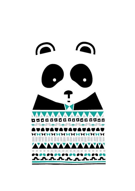 Children Room decor, Panda Sweater Art Print, Panda gifts