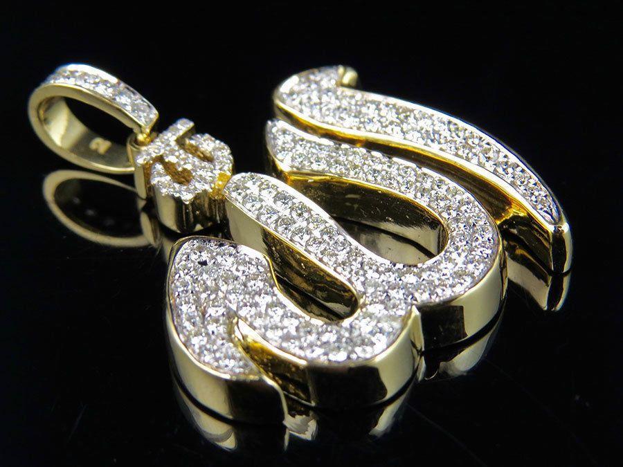 1.50CT 14K Yellow Gold Halo Sapphire Round Shape Basket Setting Pendant w// Chain
