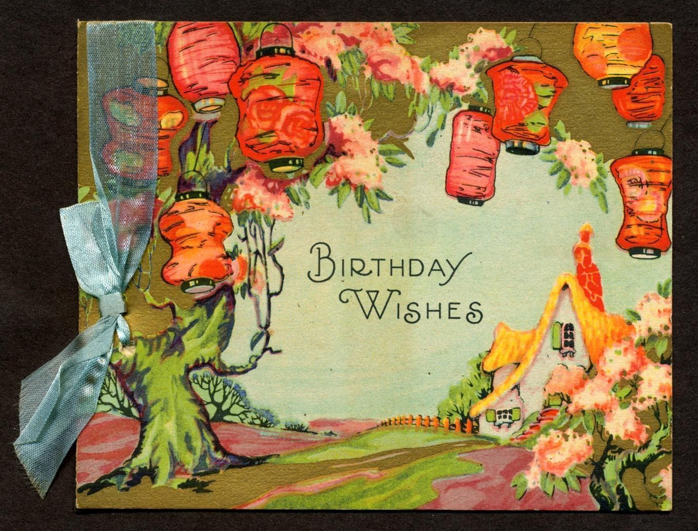 C 1930 Vintage Birthday Card Japanese Lanterns