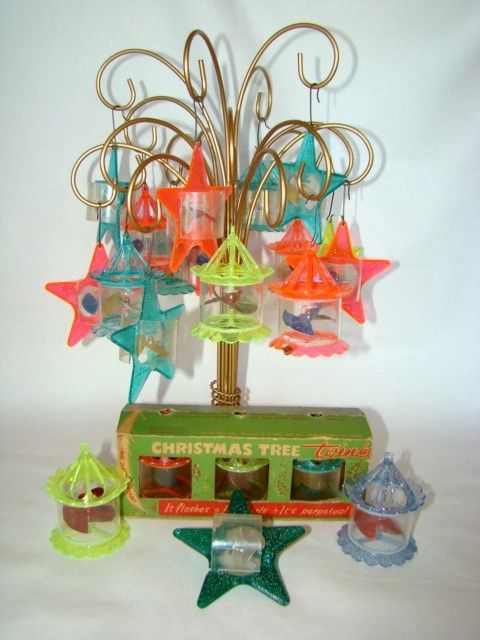 21 Vintage Mid-Century CHRISTMAS Birdcage & Star SPINNER Twinkler Neon Plastic Ornaments..