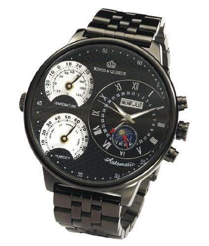 kings and queens kq4008 mens automatic mechanical watch large face kings and queens kq4008 mens automatic mechanical watch large face 55mm all black stainless steel bracelet