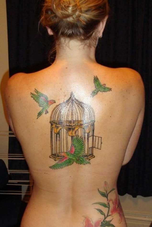 Bird Back Tattoos: 47 Delightful Bird Cage Tattoos That Will Absolutely Make