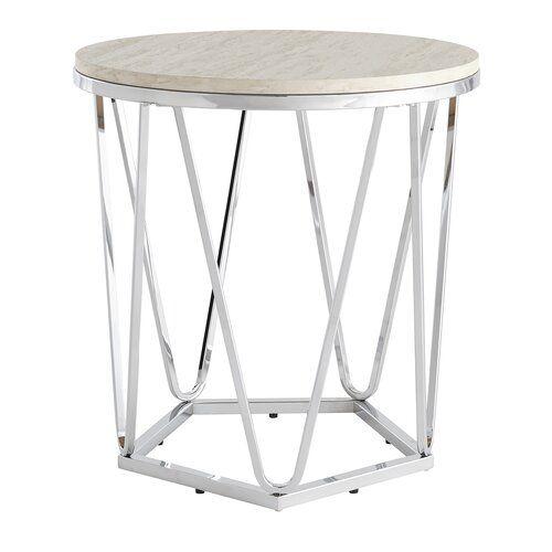 Quartz Side Table Brayden Studio Colour Silver End Tables Side Table Faux Stone