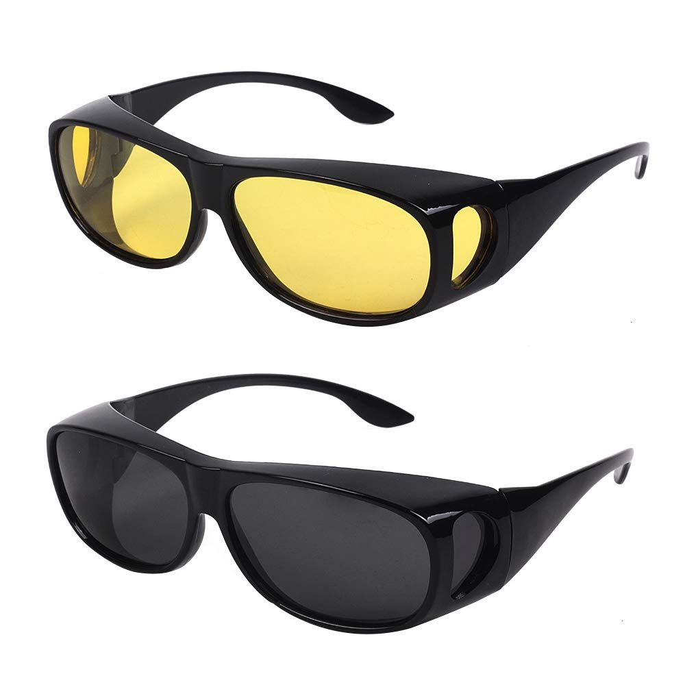 571199c79029f 2PACKS NIGHT VISION DAY VISION SUNGLASSES WEAR OVER PRESCRIPTION GLASSES