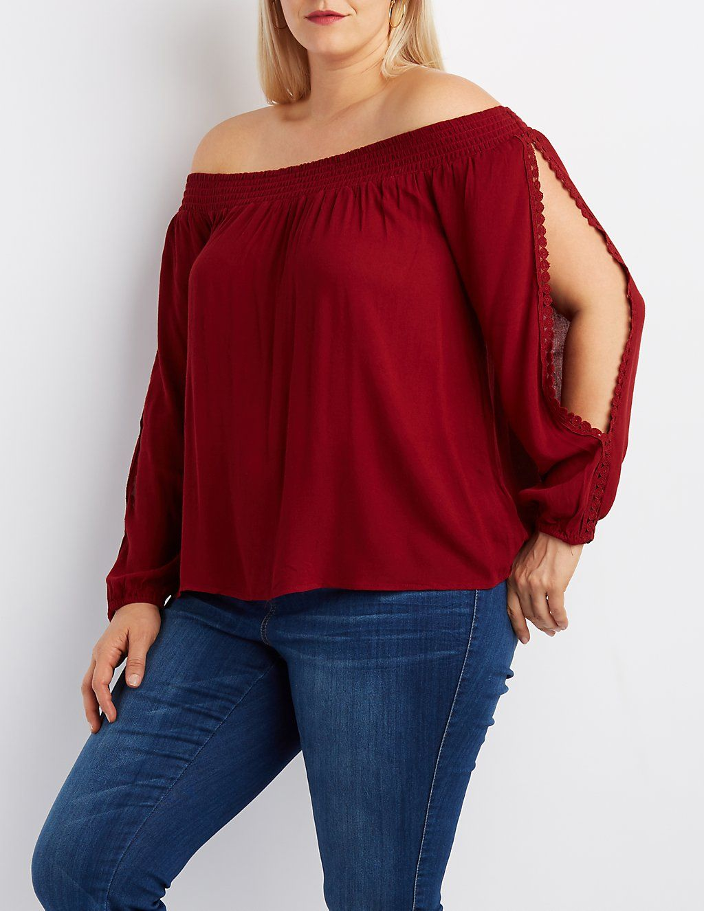 96041536c56 Plus Size Off-The-Shoulder Split Sleeve Top in 2019