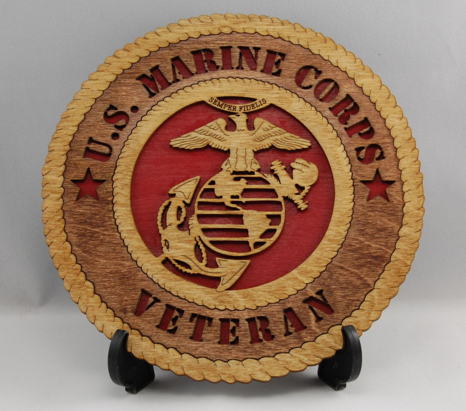 Mini Laser cut US Marine Corps Veteran desk plaque. A great gift for ...