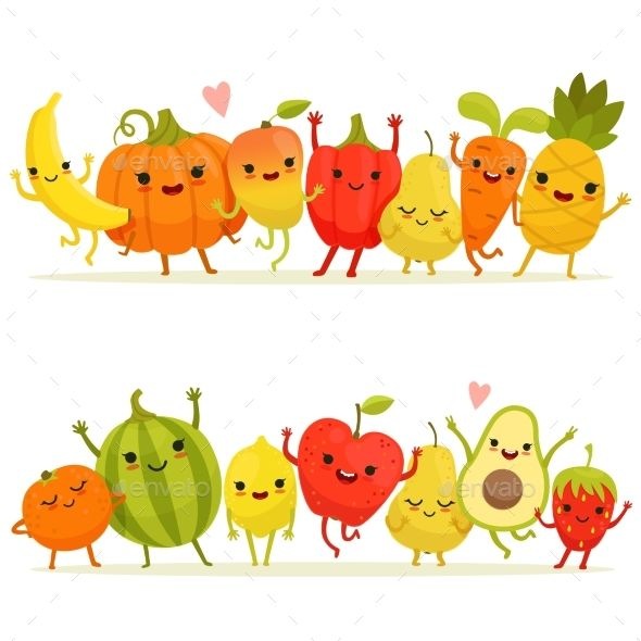 Cartoon Fruits And Vegetables In Group Will Will