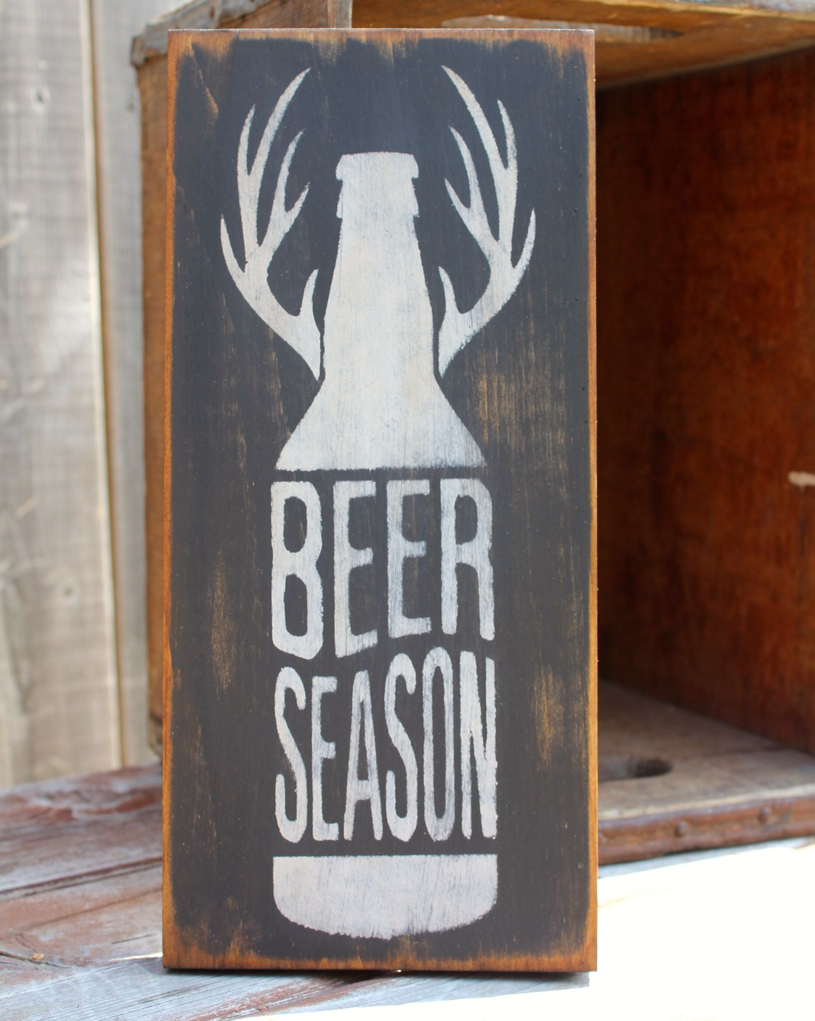 Beer Shed Man Cave : Beer season sign made by the primitive shed st
