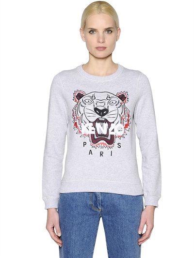 97bb004b800 KENZO Tiger Embroidered Cotton Sweatshirt, Light Grey. #kenzo #cloth # sweatshirts