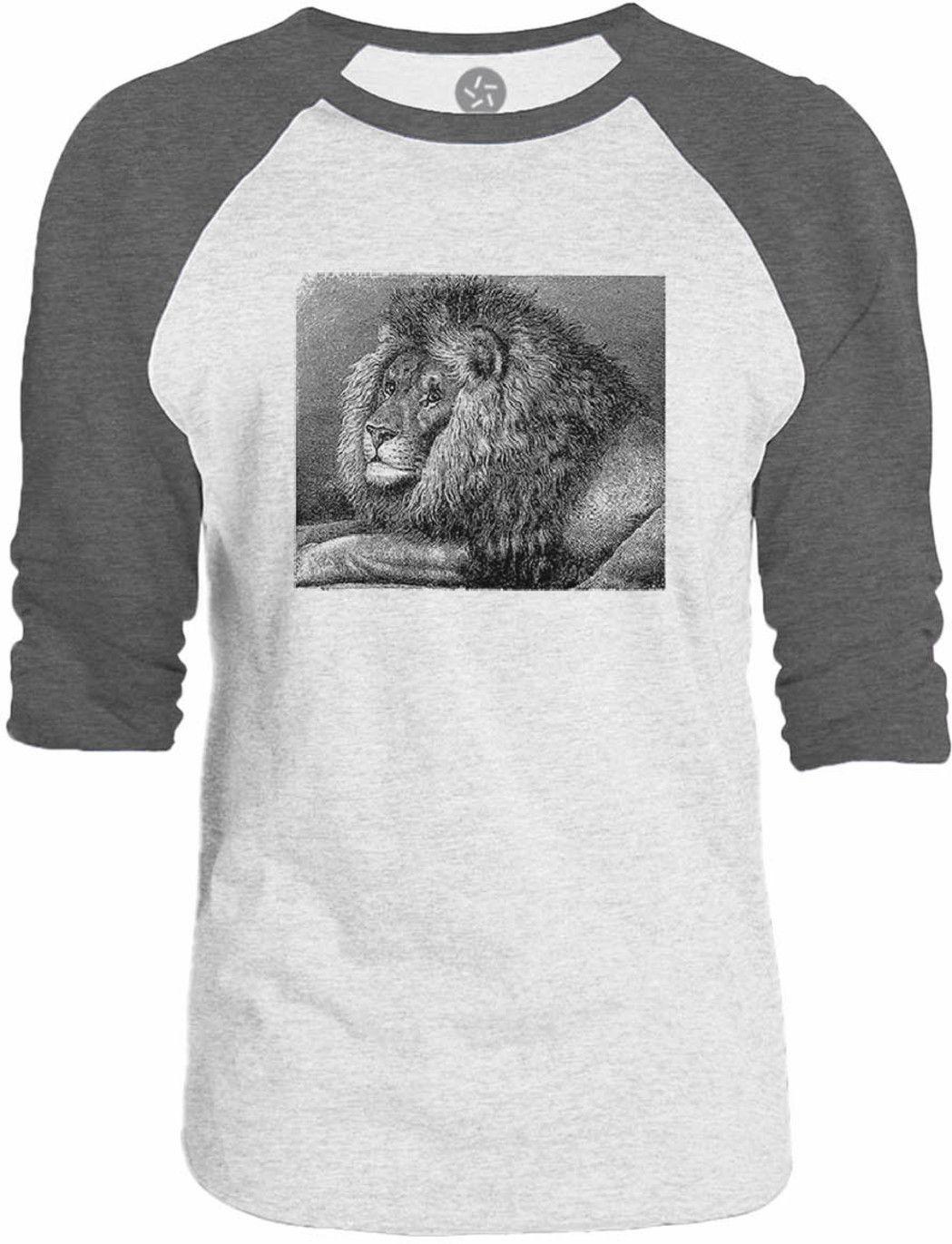 Big Texas Vintage Lion Illustration 3/4-Sleeve Raglan Baseball T-Shirt