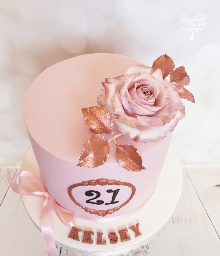 Incredible 21St Rose Gold Birthday Cake Rose Gold And Pink Cake 21St Funny Birthday Cards Online Fluifree Goldxyz