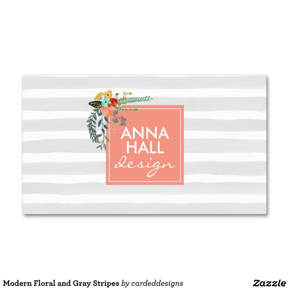 modern floral and gray stripes doublesided standard