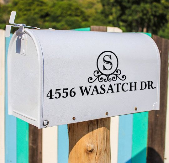 Monogram with Address Vinyl Mailbox Decal measures 6 inches tall by saltyseatreasures on Etsy https://www.etsy.com/listing/192108590/monogram-with-address-vinyl-mailbox
