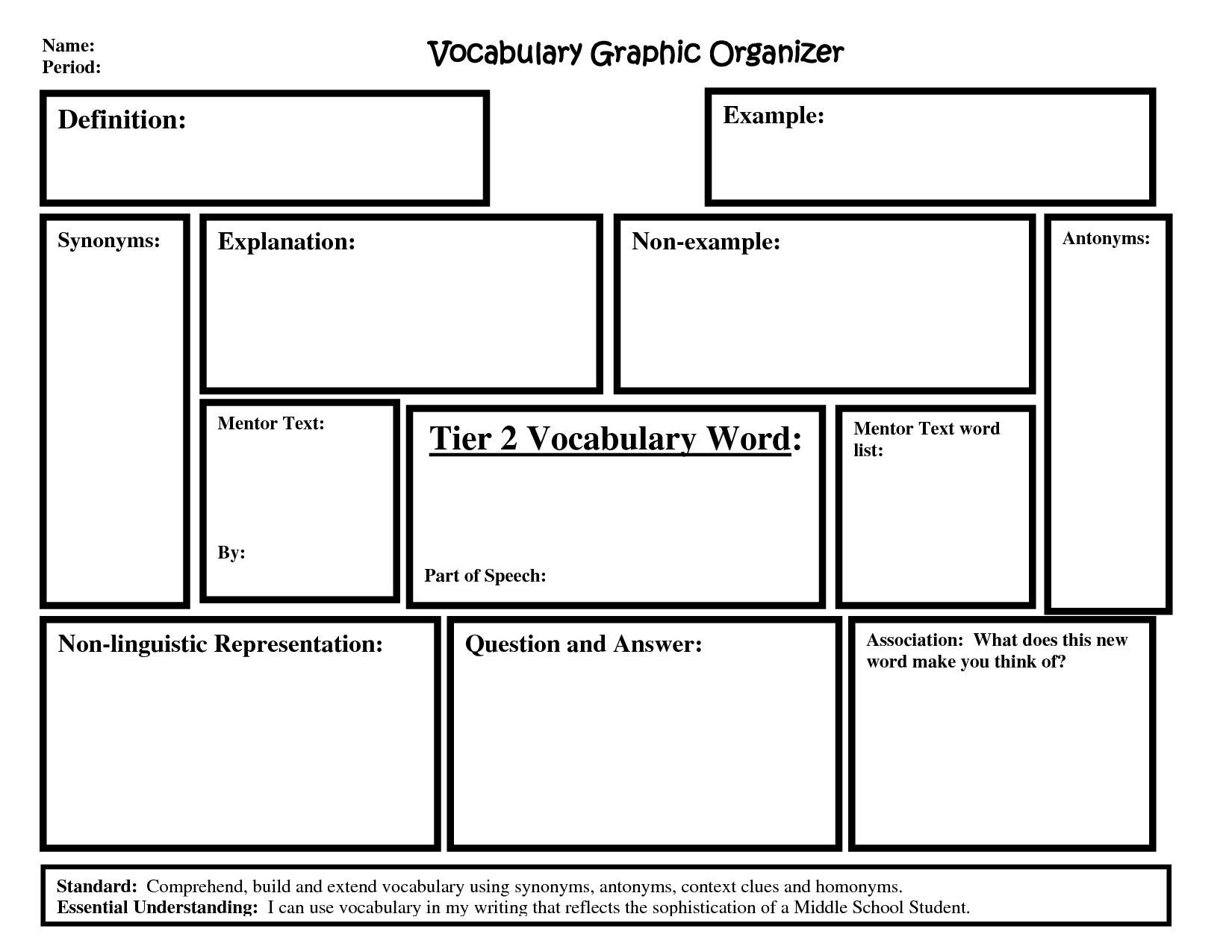 Tier 2 Words Graphic Organizer Middle School