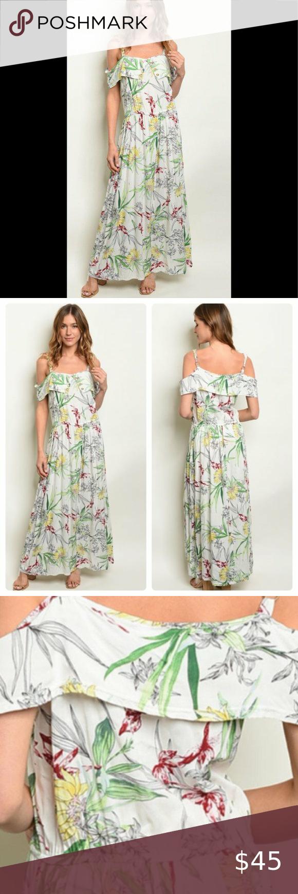 Floral Tropical Maxi Dress Tropical Maxi Dress Comfy Maxi Dress Boutique Maxi Dresses [ 1740 x 580 Pixel ]