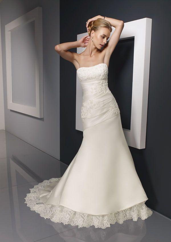 Saucy Mermaid Applique Lace Satin Chapel Train Bridal Gown | Bridal ...