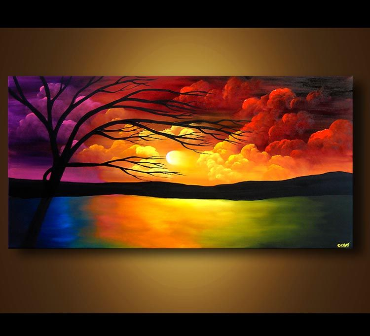 Abstract And Modern Paintings Osnat Fine Art Original Abstract Art Painting Original Abstract Art Sunrise Painting