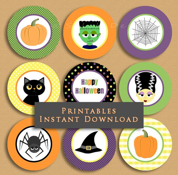 Halloween Printable Cupcake Toppers Party by JannaSalakDesigns
