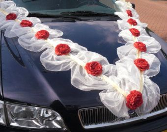 Pleated organza ribbons with silk roses wedding car decoration pleated organza ribbons with silk roses wedding car decoration junglespirit Gallery
