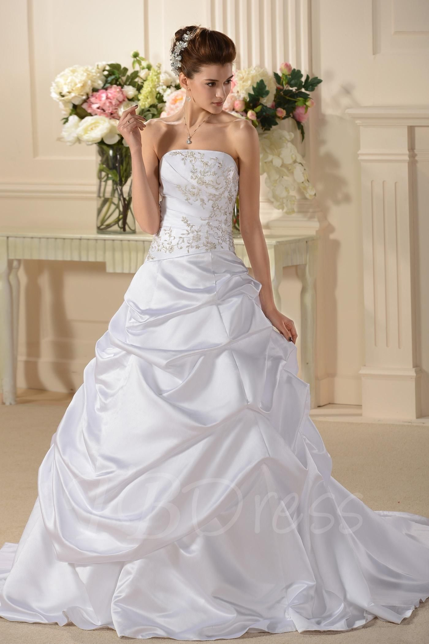 Tbdress tbdress a lineprincess strapless chapel train wedding