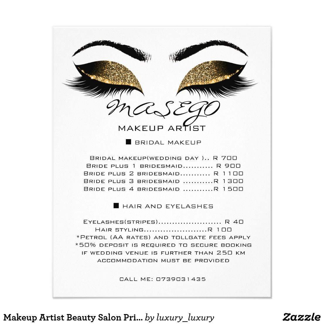 Makeup Artist Beauty Salon Price List Flyer White Zazzle Com Beauty Salon Price List Salon Price List Beauty Salon