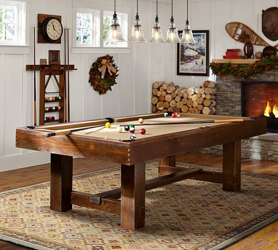 Pb Pool Table Rustic Mahogany Finish With Taupe Felt And