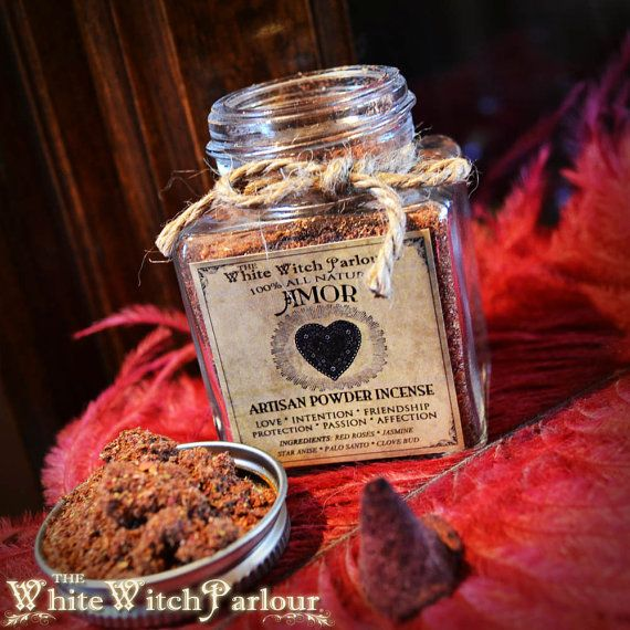 AMOR Powder Incense. All Natural. Love by WhiteWitchParlour 'AMOR' is a sharp spicey floral scent, made from my artisan blend of red roses, Jasmine flowers, Star Anise, Clove bud and Palo Santo resin, blessed by Rose Quartz for help in love matters, self appreciation, friendship, relationship protection, passion & affection.