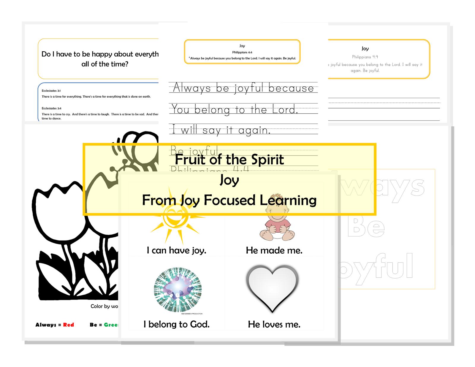 Joy Focused Learning Fruit Of The Spirit Series Joy