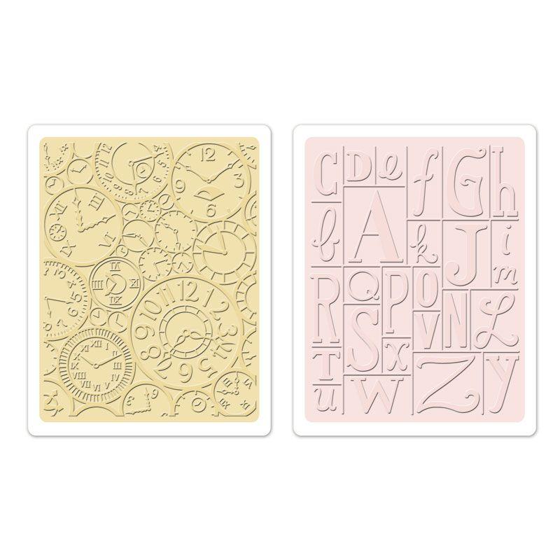 Sizzix.com - Sizzix Textured Impressions Embossing Folders 2PK - Clocks & Print Blocks Set