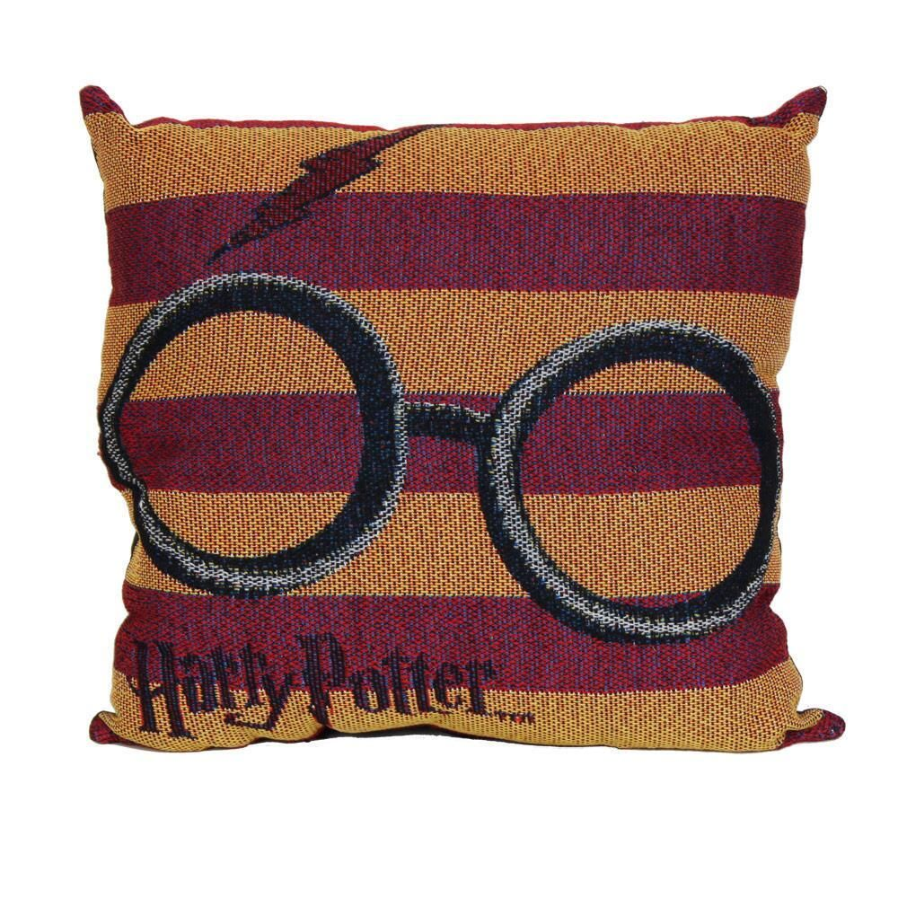 This Harry Potter Woven Tapestry Pillow Features Harry S Glasses And His Lightning Bolt Scar And Will Be A G Tapestry Pillow Tapestry Weaving Harry Potter Shop