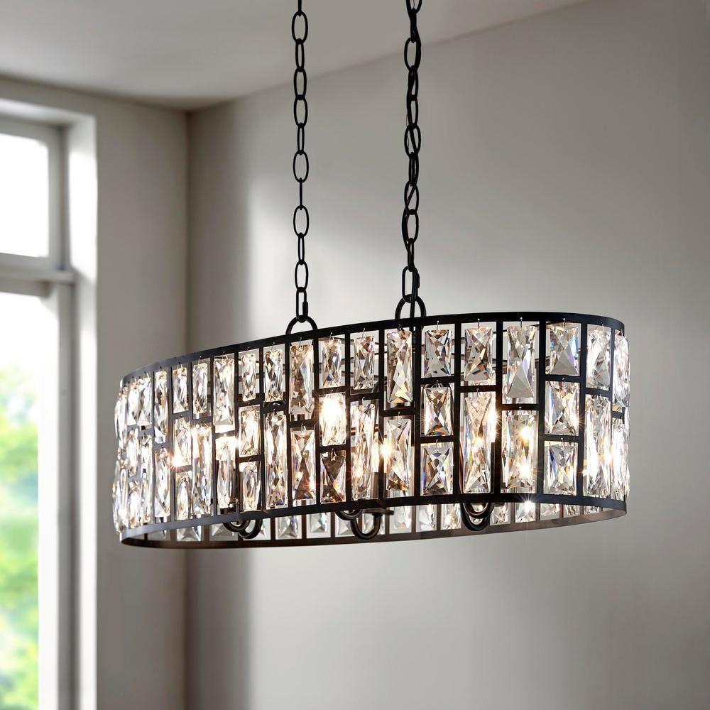 Home Decorators Collection Kristella 6 Light Matte Black Linear Pendant With Rectangular Light Fixture Dinning Room Light Fixture Pendant Lighting Dining Room