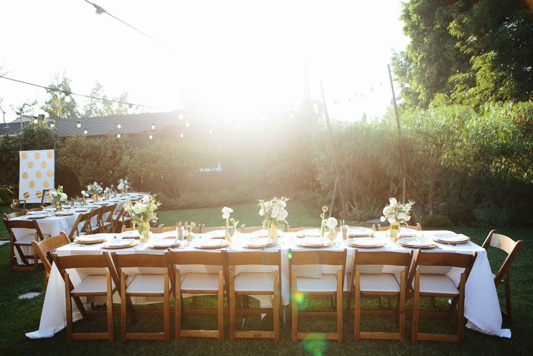 Gender Neutral Outdoor Baby Shower in Gold and White - On to Baby