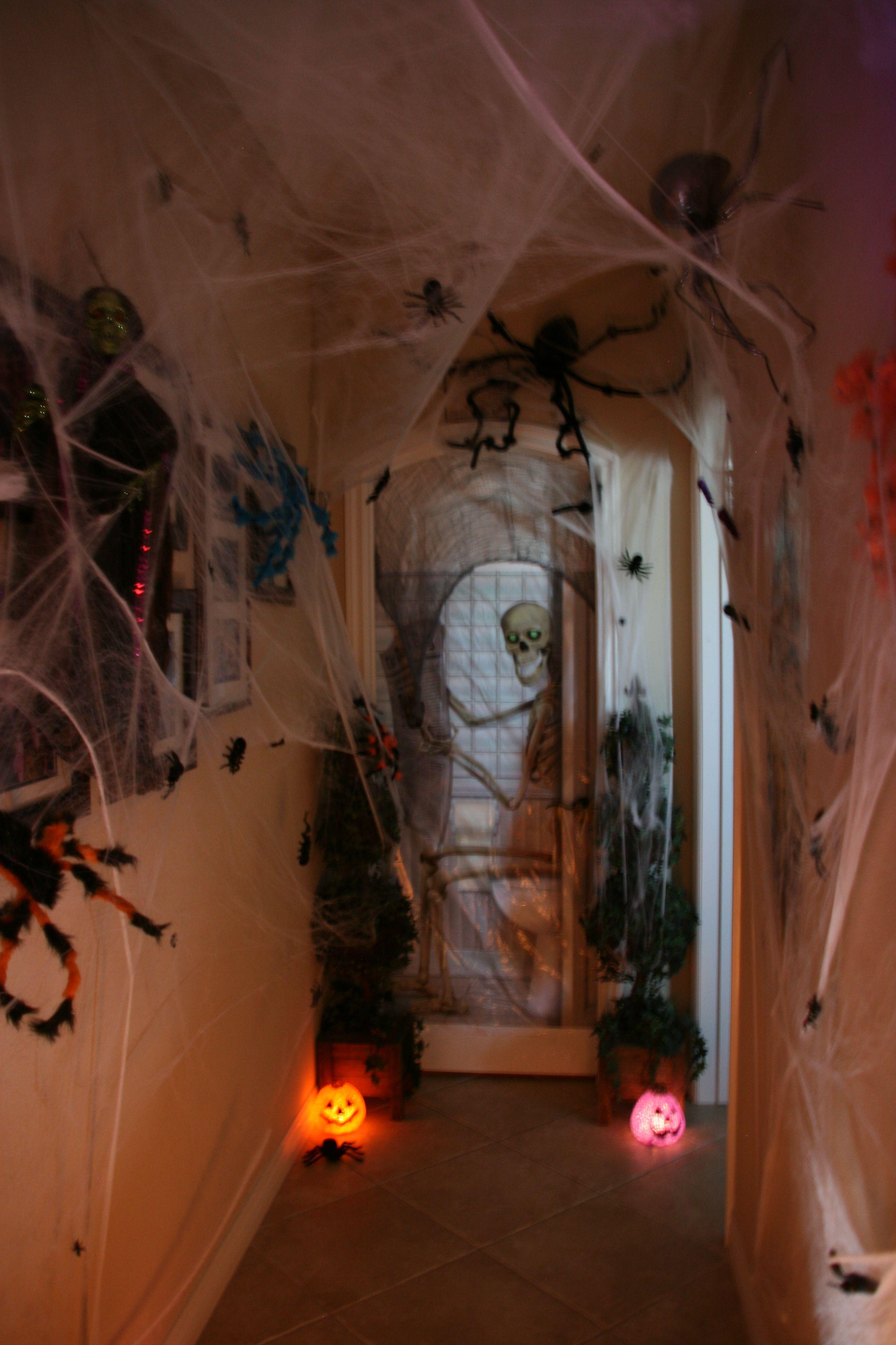 Hall way to bathroom. Spider webs and Spiders. Halloween